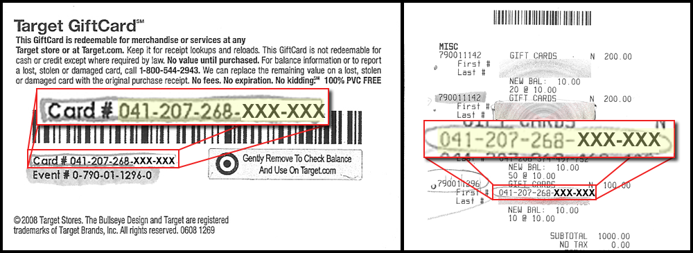 Gift Card Numbers Purchasing